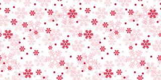 Modello bianco e rosso di ripetizione dei fiocchi di neve di Natale royalty illustrazione gratis