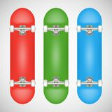 Modello in bianco realistico del pattino - rosso, verde, blu Immagine Stock Libera da Diritti