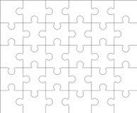 Modello in bianco 5x6, trenta pezzi del puzzle Fotografie Stock