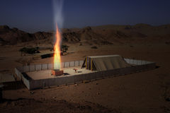 Modello biblico del Tabernacle con il burning dell'altare Immagine Stock