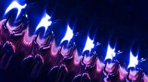 Modello blu brillante astratto della lamina di metallo, fondo Fotografie Stock