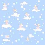 Modello blu con gli angeli, le nuvole e le bolle Fotografie Stock Libere da Diritti