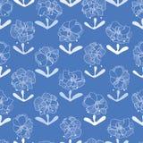 Modello blu con i fiori del pizzo illustrazione di stock