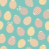 Modello blu del coniglietto della molla senza cuciture dell'uovo di Pasqua Fotografie Stock