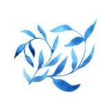 Modello blu del modello della foglia dell'acquerello del gzhel di vettore Immagini Stock Libere da Diritti