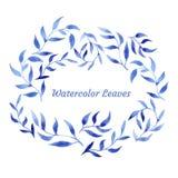 Modello blu del modello della foglia dell'acquerello del gzhel di vettore Fotografia Stock Libera da Diritti