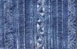 Modello blu del panno del batik Fotografia Stock Libera da Diritti