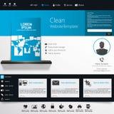 Modello blu del sito Web di affari - progettazione di Home Page - pulito e semplice - con uno spazio per un testo Fotografie Stock
