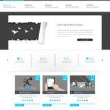 Modello blu del sito Web di affari - progettazione di Home Page - pulito e semplice - vector l'illustrazione Fotografia Stock Libera da Diritti