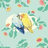 Modello blu dell'acqua con gli uccelli di amore royalty illustrazione gratis