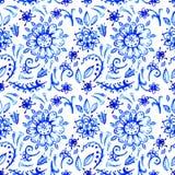 Modello blu dell'acquerello Immagine Stock