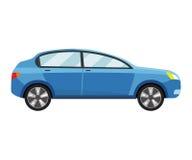 Modello blu dell'automobile su fondo bianco Immagine Stock