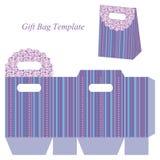 Modello blu della borsa del regalo con le bande ed i punti Fotografia Stock