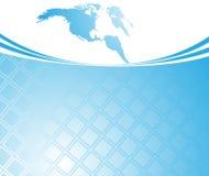 Modello blu della scheda - mondo illustrazione di stock