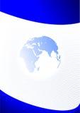 Modello blu di affari con la terra del pianeta Fotografia Stock Libera da Diritti