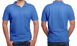 Modello blu di disegno della camicia di polo Fotografie Stock Libere da Diritti