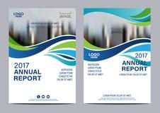 Modello blu di progettazione dell'aletta di filatoio del rapporto annuale dell'opuscolo fotografia stock