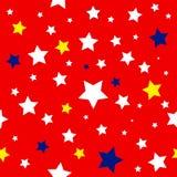 Modello blu giallo bianco rosso delle stelle Fotografia Stock