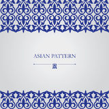 Modello blu lussuoso, insieme degli ornamenti asiatici Fotografie Stock