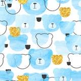 Modello blu senza cuciture con gli orsi astratti dell'acquerello illustrazione di stock