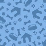 Modello blu senza cuciture con i simboli dei cani Illustrazione di vettore Immagini Stock Libere da Diritti