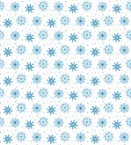 Modello blu senza cuciture di molti fiocchi di neve su fondo bianco CH Fotografie Stock
