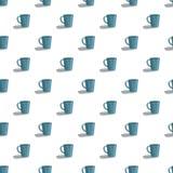 Modello blu sveglio della tazza senza cuciture illustrazione vettoriale