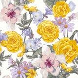 Modello botanico floreale senza cuciture con i wildflowers illustrazione di stock