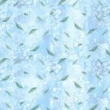 Modello botanico senza cuciture dell'acquerello Foglie, fondo delle erbe Pittura della mano Struttura dell'erba verde Immagine Stock Libera da Diritti