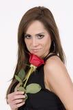 Modello brasiliano con una Rosa Immagini Stock