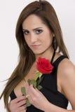 Modello brasiliano con una Rosa Fotografia Stock