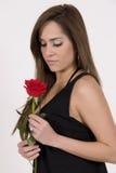 Modello brasiliano con una Rosa Fotografia Stock Libera da Diritti
