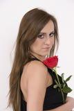 Modello brasiliano con una Rosa Fotografie Stock Libere da Diritti