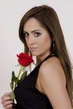 Modello brasiliano con una Rosa Fotografie Stock