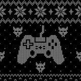Modello brutto di stile del maglione di Natale di video temi di gioco illustrazione di stock