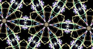 Modello caleidoscopico su fondo scuro nei colori vibranti Fotografia Stock Libera da Diritti