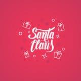 Modello calligrafico della carta di progettazione di iscrizione del testo di Santa Claus Fotografia Stock Libera da Diritti