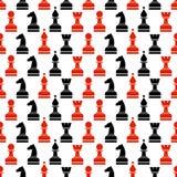 Modello caotico di vettore senza cuciture con i pezzi degli scacchi neri e rossi sul whitebackground Fotografia Stock Libera da Diritti