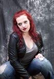 Modello capo rosso Fotografia Stock