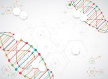 Modello, carta da parati o insegna di scienza con le molecole di un DNA royalty illustrazione gratis