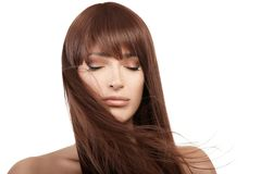 Modello castana di bellezza con capelli lunghi sani Fotografia Stock