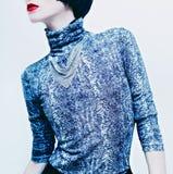 Modello castana sensuale in blusa alla moda con la stampa del serpente sopra Fotografia Stock Libera da Diritti