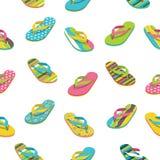 Modello casuale dei sandali Vacanze estive sul vettore Illustrazione di Stock