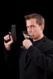 Modello caucasico maschio con una pistola Fotografia Stock