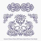 Modello cinese antico del confine della vite del fiore di spirale della natura Fotografia Stock