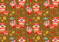 Modello cinese di vettore di Lion Dancing del nuovo anno Immagine Stock