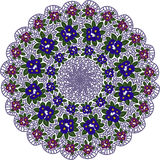 Modello circolare con i fiori Fotografie Stock