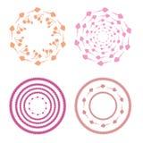 Modello circolare dei germogli e del cratego rosa Immagini Stock