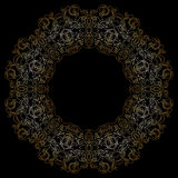 Modello circolare dell'oro su backgroud nero Fotografie Stock