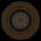 Modello circolare dell'oro su backgroud nero Immagine Stock